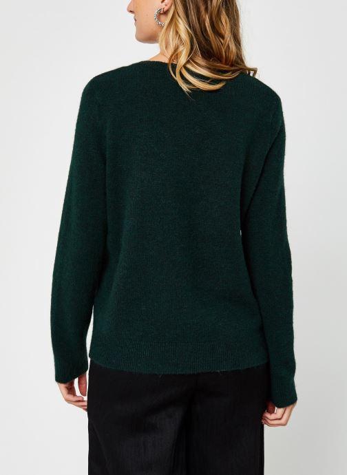 Vêtements Vero Moda Vmiva V-Neck Lace Blouse Color Vert vue portées chaussures