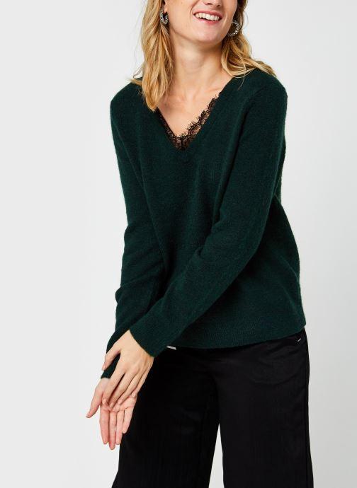 Vêtements Vero Moda Vmiva V-Neck Lace Blouse Color Vert vue droite