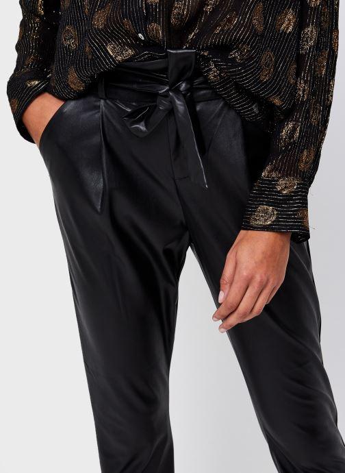 Vêtements Vero Moda Vmeva Hr Paperbag Pu Ankle Pants Noir vue face