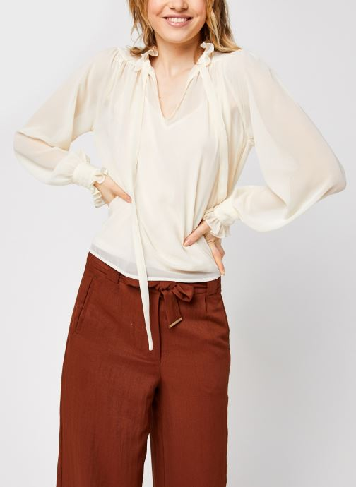 Vêtements Vero Moda Vmmikaela Ls Tie Blouse Vma Blanc vue droite