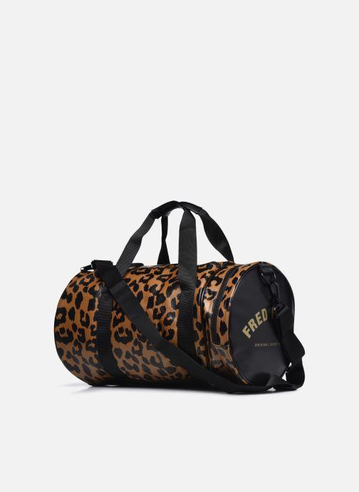 Bagages Fred Perry Leopard Print Barrel Bag Marron vue droite