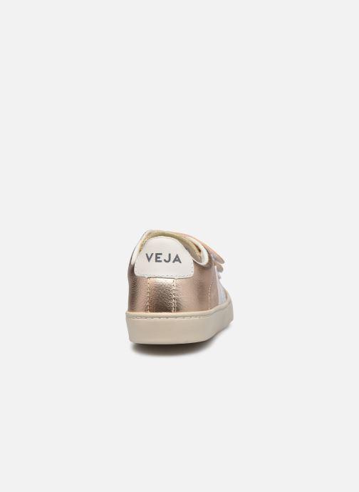 Deportivas Veja Small Esplar Velcro Leather Oro y bronce vista lateral derecha