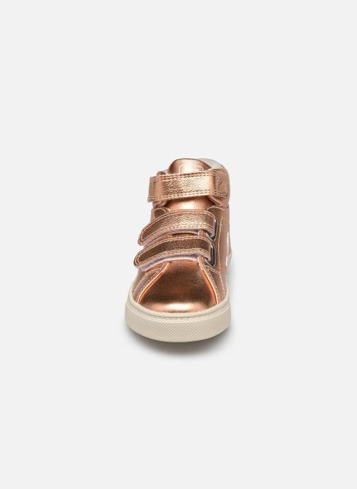 Baskets Veja Small Esplar Mid Leather Or et bronze vue portées chaussures
