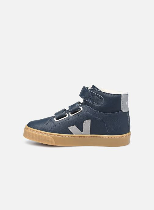 Sneakers Veja Small Esplar Mid Fur Leather Blauw voorkant