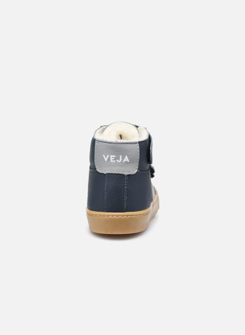 Sneakers Veja Small Esplar Mid Fur Leather Blauw rechts
