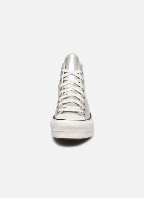 Baskets Converse Chuck Taylor All Star Lift Metallic Classics Hi Argent vue portées chaussures