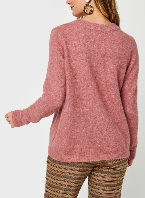 Vêtements OBJECT Objnete Knit Pullover Rose vue portées chaussures