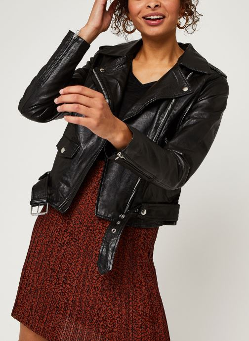 Kleding OBJECT Objnandita Leather Jacket Zwart detail