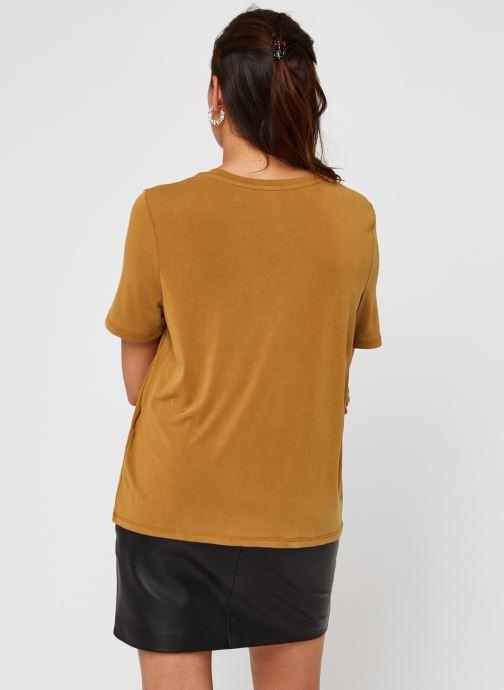 Vêtements OBJECT Objannie T-Shirt Marron vue portées chaussures