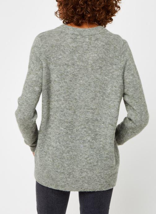 Vêtements OBJECT Objnete V-Neck Knit Pullover Vert vue portées chaussures