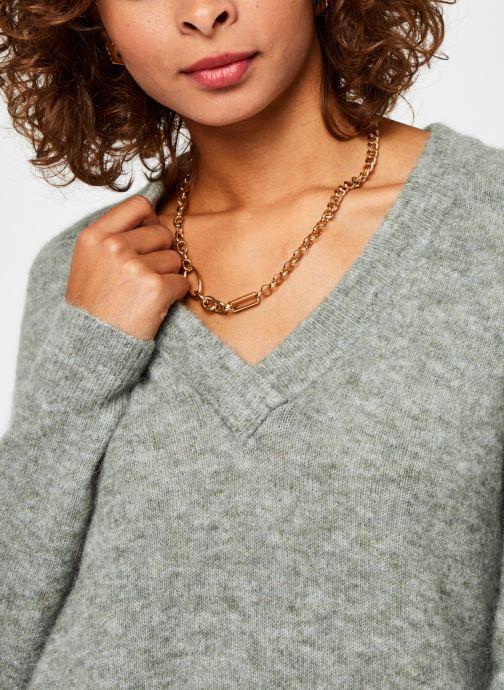 Vêtements OBJECT Objnete V-Neck Knit Pullover Vert vue face