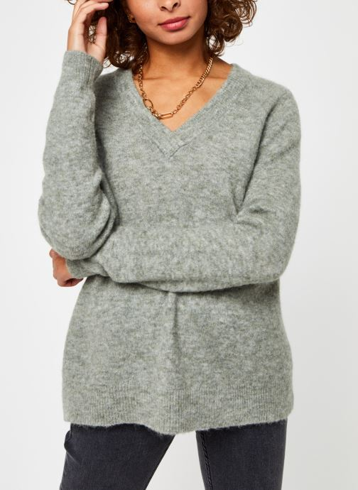 Vêtements OBJECT Objnete V-Neck Knit Pullover Vert vue droite