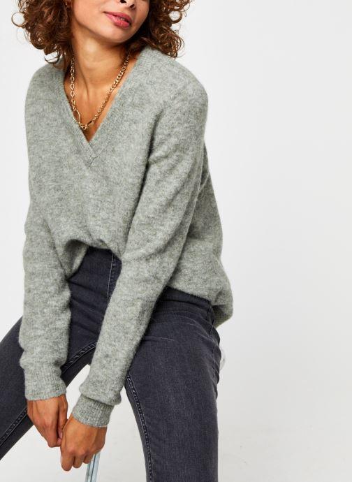 Vêtements OBJECT Objnete V-Neck Knit Pullover Vert vue détail/paire