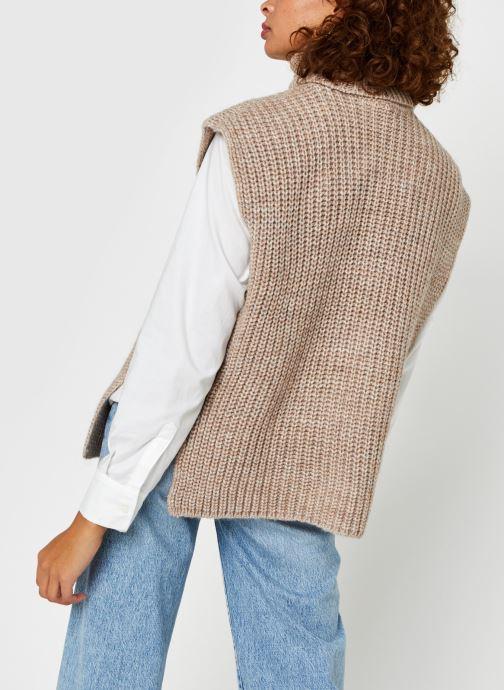 Vêtements OBJECT Objstella Knit Waistcoat Beige vue portées chaussures