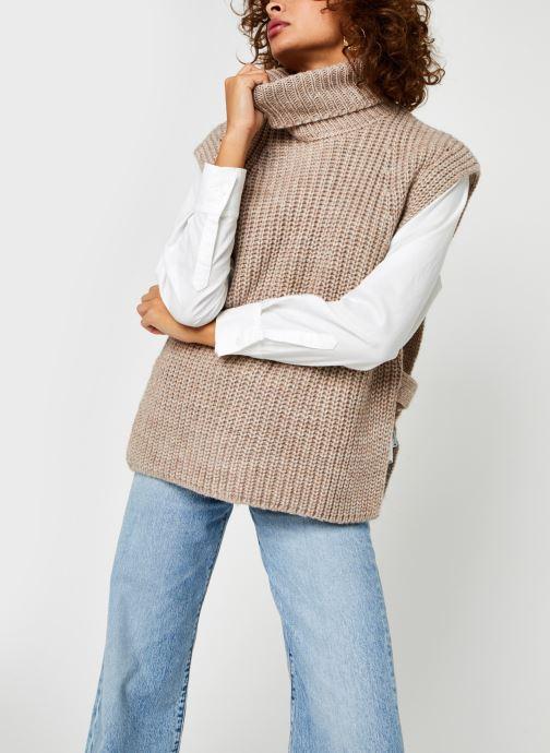 Vêtements OBJECT Objstella Knit Waistcoat Beige vue détail/paire