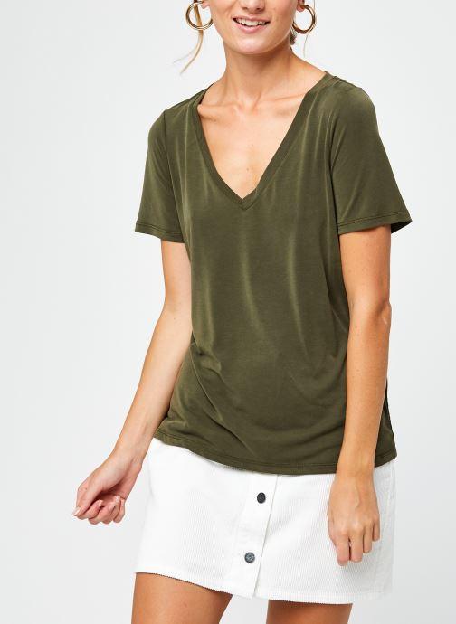 Vêtements Vila Vimodala V-Neck T-Shirt Vert vue droite