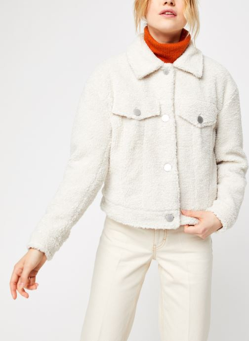 Vêtements Vila Viabbi Short Teddy Jacket Blanc vue droite
