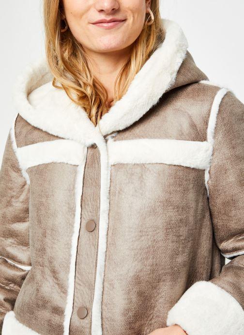 Kleding Vila Vimelba Faux Fur Shearling Hood Jacket Bruin voorkant