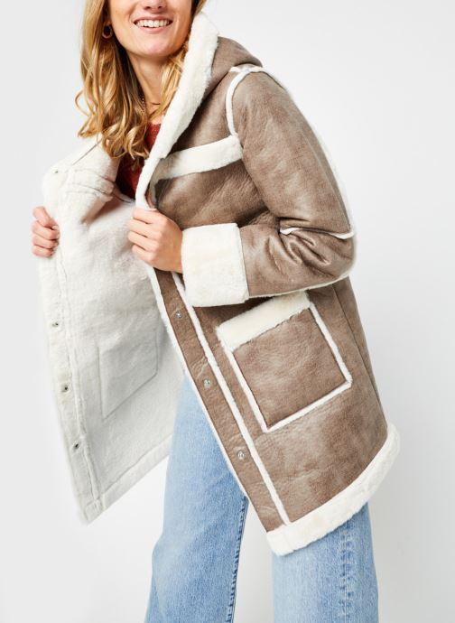 Kleding Vila Vimelba Faux Fur Shearling Hood Jacket Bruin detail