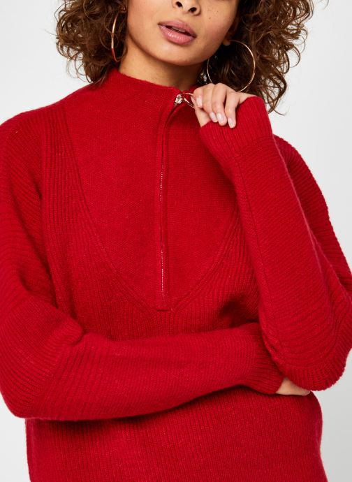 Kleding Vila Vipalermo Knit Zipper Top Rood voorkant
