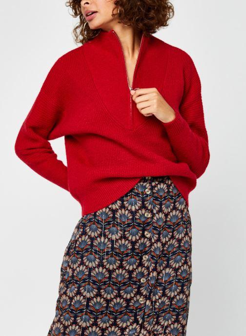 Kleding Vila Vipalermo Knit Zipper Top Rood detail
