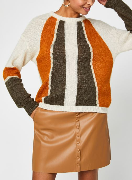 Kleding Vila Vigood Knit Pattern Top Beige rechts