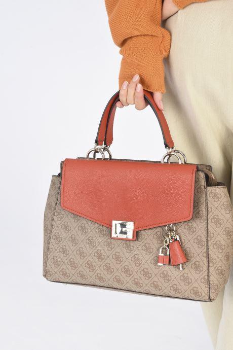 Bolsos de mano Guess VALY LARGE GIRLFRIED SATCHEL Marrón vista de abajo