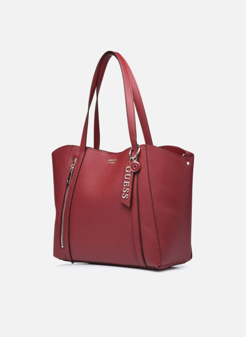 Handtaschen Guess NAYA TRAPTOTE weinrot schuhe getragen