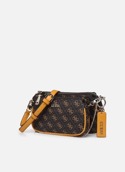 Borse Guess ARIE DOUBLE POUCH CROSSBODY Marrone modello indossato