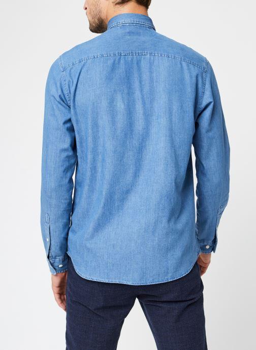 Vêtements Selected Homme Slhregcollect Shirt Ls W Noos Bleu vue portées chaussures