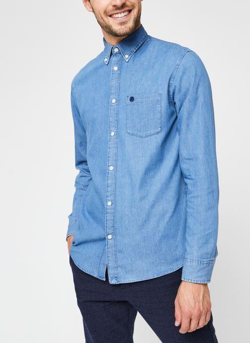 Vêtements Selected Homme Slhregcollect Shirt Ls W Noos Bleu vue droite
