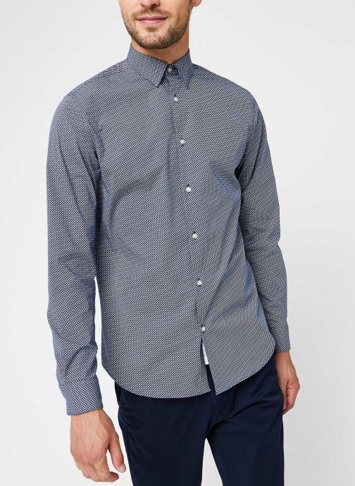 Vêtements Selected Homme Slhslimmichigan Shirt Ls B Noos Bleu vue droite