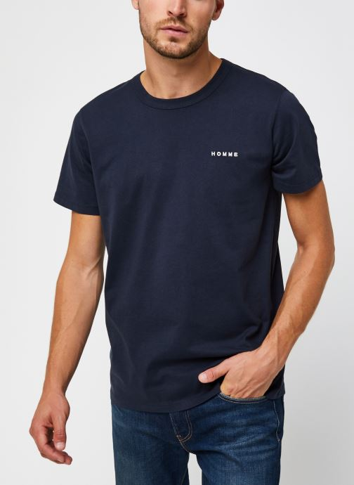 Vêtements Selected Homme Slhnicki Emb Ss O-Neck Tee W Bleu vue détail/paire