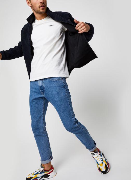 Vêtements Selected Homme Slhnicki Emb Ss O-Neck Tee W Blanc vue bas / vue portée sac