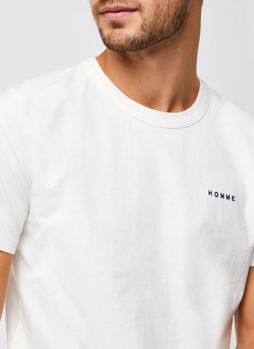 Vêtements Selected Homme Slhnicki Emb Ss O-Neck Tee W Blanc vue face