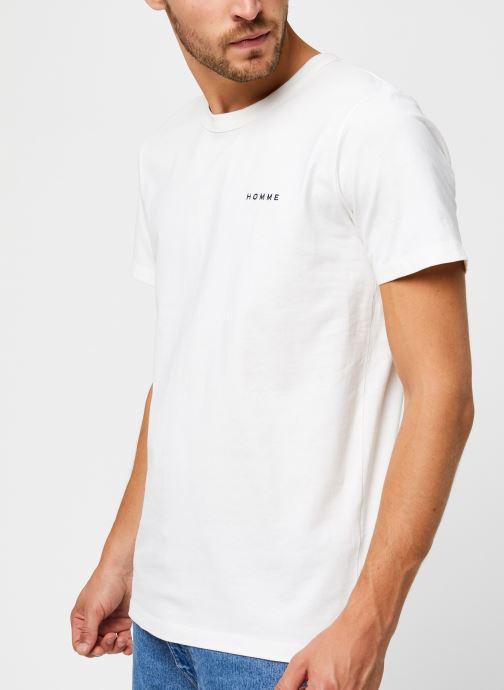 Vêtements Selected Homme Slhnicki Emb Ss O-Neck Tee W Blanc vue droite