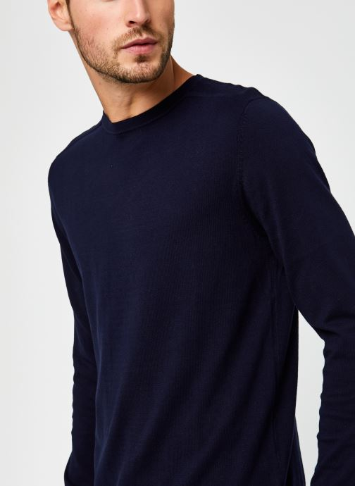 Vêtements Selected Homme Slhberg Crew Neck B Noos Bleu vue face