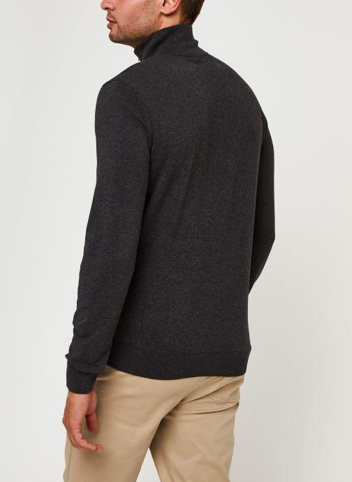 Vêtements Selected Homme Slhberg Half Zip Cardigan B Noos Gris vue portées chaussures