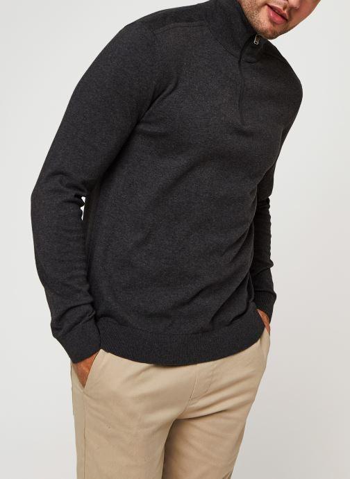 Vêtements Selected Homme Slhberg Half Zip Cardigan B Noos Gris vue droite