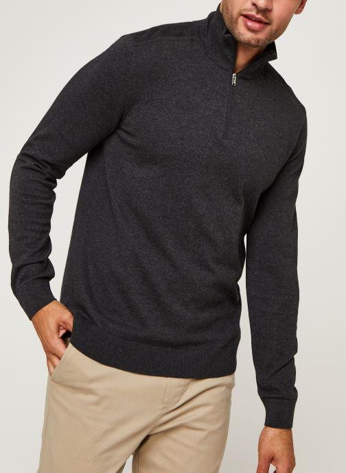 Vêtements Selected Homme Slhberg Half Zip Cardigan B Noos Gris vue détail/paire