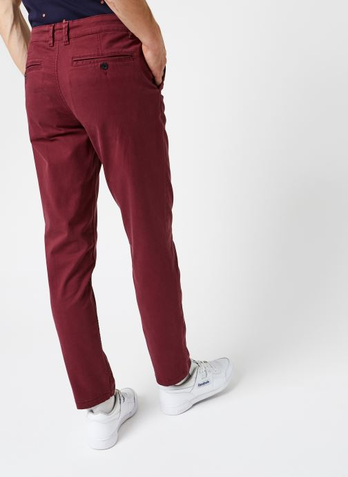 Vêtements Selected Homme Slhstraight-Newparis Flex Pants W Bordeaux vue portées chaussures