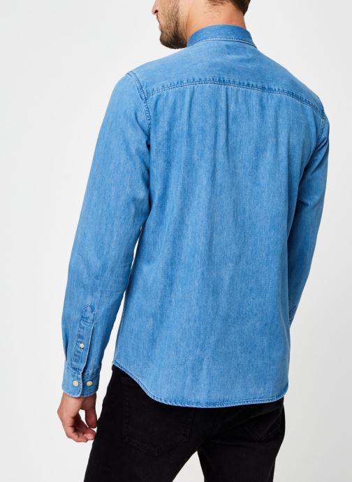 Vêtements Selected Homme Slhregross Denim Shirt Ls J Bleu vue portées chaussures