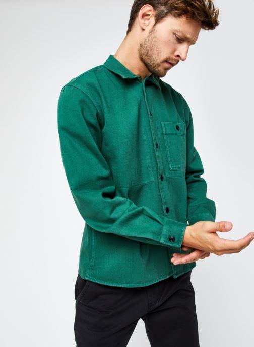Vêtements Selected Homme Slhloosejace Overshirt Ls W Vert vue droite