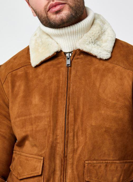 Vêtements Selected Homme Slhshawn Suede Jkt W Marron vue face