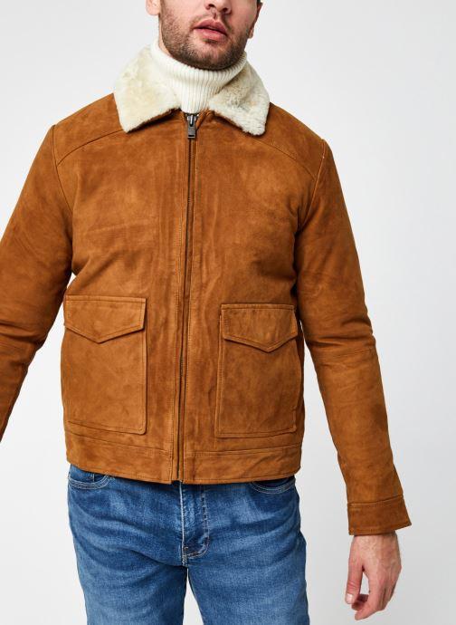 Vêtements Selected Homme Slhshawn Suede Jkt W Marron vue droite