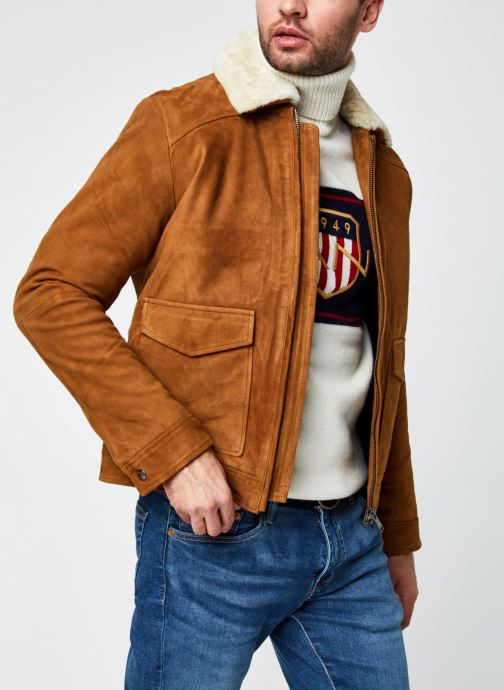 Vêtements Selected Homme Slhshawn Suede Jkt W Marron vue détail/paire