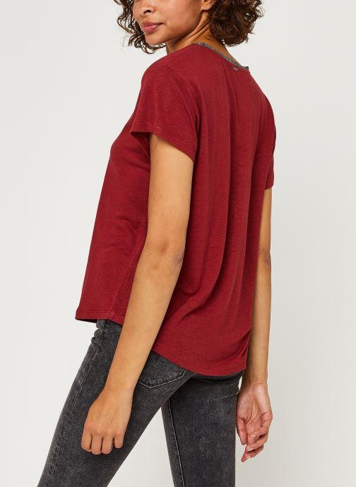 Vêtements IKKS Women Teeshirt Br10015 Bordeaux vue portées chaussures