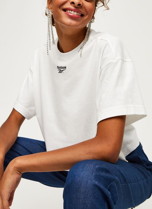 Vêtements Reebok Qqr Cropped Tee Blanc vue détail/paire