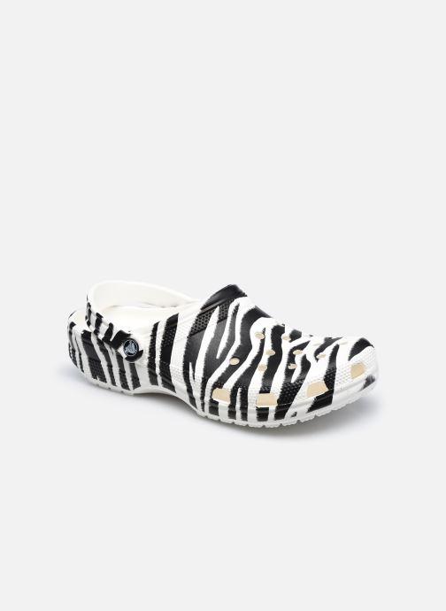 Mules et sabots Crocs Classic Animal Print Clog W Blanc vue détail/paire