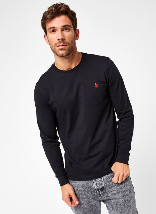 Vêtements Polo Ralph Lauren Tee-Shirt ML Pony Noir vue droite